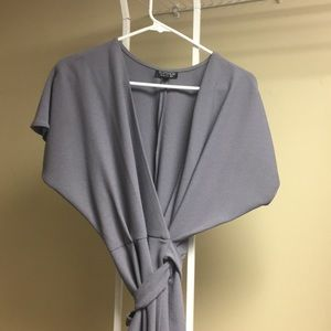 Women's topshop charcoal grey wrap dress